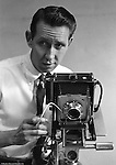 Brady Stewart Studio: The second downtown Pittsburgh studio (1956-1966) was located at 725 Liberty Ave right next to Dimlings Candies and across from Max Azens. <br /> <br /> Brady Stewart Studio photographer Dave VanDeVeer. Dave is posing with a Technika 4x5 studio camera. This shot was used in the Brady Stewart Studio advertisement at Ketchum MacLeod and Grove offices. <br /> <br /> Dave was another very accomplished photographer at the studio and worked from 1952 through 1968.  After leaving Brady Stewart Studio, Dave opened his own successful photographic studio in Pittsburgh.