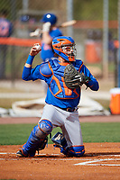 New York Mets catcher Juan Uriarte (17) during a Minor League Spring Training intrasquad game on March 29, 2018 at the First Data Field Complex in St. Lucie, Florida.  (Mike Janes/Four Seam Images)