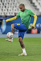 2nd July 2021; Nilton Santos Stadium, Rio de Janeiro, Brazil; Copa America, Brazil versus Chile; Neymar of Brazil warms up before the match