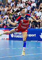30 MAY 2012 - LONDON, GBR - Holly Lam Moores (GBR) of Great Britain shoots during the women's 2012 European Handball Championship qualification match against Montenegro at the National Sports Centre in Crystal Palace, Great Britain .(PHOTO (C) 2012 NIGEL FARROW)