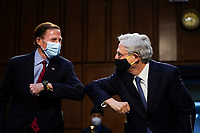 WASHINGTON, DC - FEBRUARY 22:  (L-R) United States Senator Richard Blumenthal (Democrat of Connecticut) gives an elbow bump to Attorney General nominee Merrick Garland as they arrive for Garland's confirmation hearing before the Senate Judiciary Committee in the Hart Senate Office Building on February 22, 2021 in Washington, DC. Garland previously served at the Chief Judge for the U.S. Court of Appeals for the District of Columbia Circuit. <br /> Credit: Drew Angerer / Pool via CNP /MediaPunch