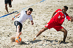 AZAD Mahmood (L) of Afghanistan fights for the ball with MOHAMAD Choker of Lebanon during the Beach Soccer Men's Team Bronze Medal Match between Lebanon and Afghanistan on Day Nine of the 5th Asian Beach Games 2016 at Bien Dong Park on 02 October 2016, in Danang, Vietnam. Photo by Marcio Machado / Power Sport Images