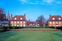 London: Hampstead Garden Suburb--Spire of Lutyens' St. Judes visible at left. Photo'90.