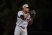 Lake Elsinore Storm relief pitcher Diomar Lopez (34) looks to his catcher for the sign during a California League game against the Modesto Nuts at John Thurman Field on May 12, 2018 in Modesto, California. Lake Elsinore defeated Modesto 4-1. (Zachary Lucy/Four Seam Images)
