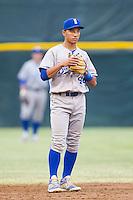 Burlington Royals shortstop Marten Gasparini (44) on defense against the Pulaski Mariners at Calfee Park on June 20, 2014 in Pulaski, Virginia.  The Mariners defeated the Royals 6-4. (Brian Westerholt/Four Seam Images)