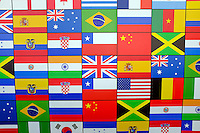 A wall painting with many national flags in Rio de Janeiro