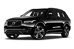 Stock pictures of low aggressive front three quarter view of a 2020 Volvo XC90 R-Design 5 Door SUV