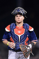 Pawtucket Red Sox catcher Christian Vasquez (17) during an International League playoff game against the Rochester Red Wings on September 5, 2013 at Frontier Field in Rochester, New York.  Pawtucket defeated Rochester 7-2.  (Mike Janes/Four Seam Images)