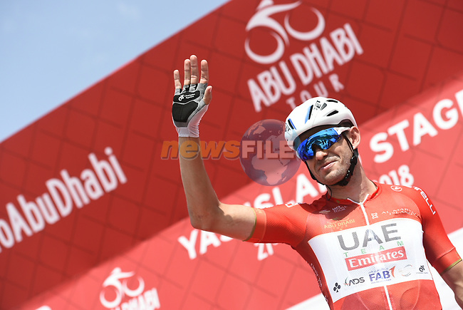 Race leader Red Jersey Alexander Kristoff (NOR) UAE Team Emirates at sign on before the start of Stage 2 of the 2018 Abu Dhabi Tour, Yas Island Stage running 154km from Yas Mall to Yas Beach, Abu Dhabi, United Arab Emirates. 22nd February 2018.<br /> Picture: LaPresse/Fabio Ferrari   Cyclefile<br /> <br /> <br /> All photos usage must carry mandatory copyright credit (© Cyclefile   LaPresse/Fabio Ferrari)