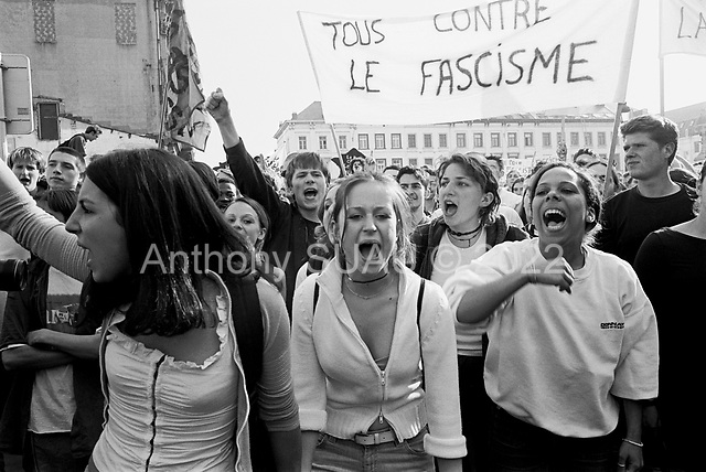Brussels, Belgium.April 24, 2002..Protesters demonstrating against Jean-Marie Le Pen who visited the European Parliament in Brussels that day.