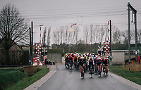 peloton bombing a railway crossing<br /> <br /> 71th Kuurne-Brussel-Kuurne 2019 <br /> Kuurne to Kuurne (BEL): 201km<br /> <br /> ©kramon