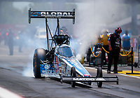Jul 11, 2020; Clermont, Indiana, USA; NHRA top fuel driver Antron Brown during qualifying for the E3 Spark Plugs Nationals at Lucas Oil Raceway. This is the first race back for NHRA since the start of the COVID-19 global pandemic. Mandatory Credit: Mark J. Rebilas-USA TODAY Sports