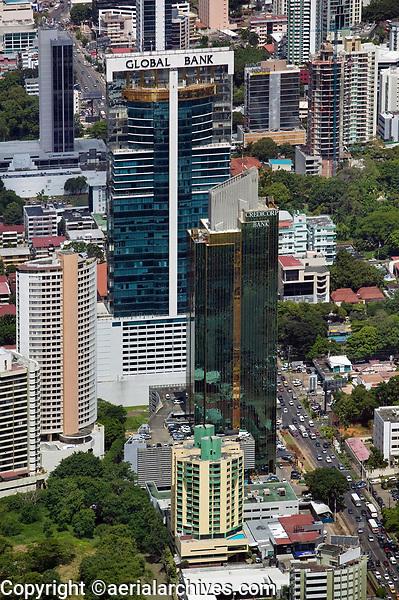 aerial photograph of Global Bank Tower, Panama City, Panama and adjacent buildings | fotografía aérea de la Torre Global Bank, Panamá