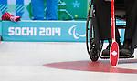 Sochi 2014 - Wheelchair Curling // Curling en fauteuil roulant.<br /> Canada takes on Slovakia in round robin play // Le Canada affronte la Slovaquie dans le tournoi à la ronde. 13/03/2014.