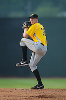 Bristol Pirates starting pitcher Logan Sendelbach (38) in action against the Johnson City Cardinals at Howard Johnson Field at Cardinal Park on July 6, 2015 in Johnson City, Tennessee.  The Cardinals defeated the Pirates 8-2 in game two of a double-header. (Brian Westerholt/Four Seam Images)
