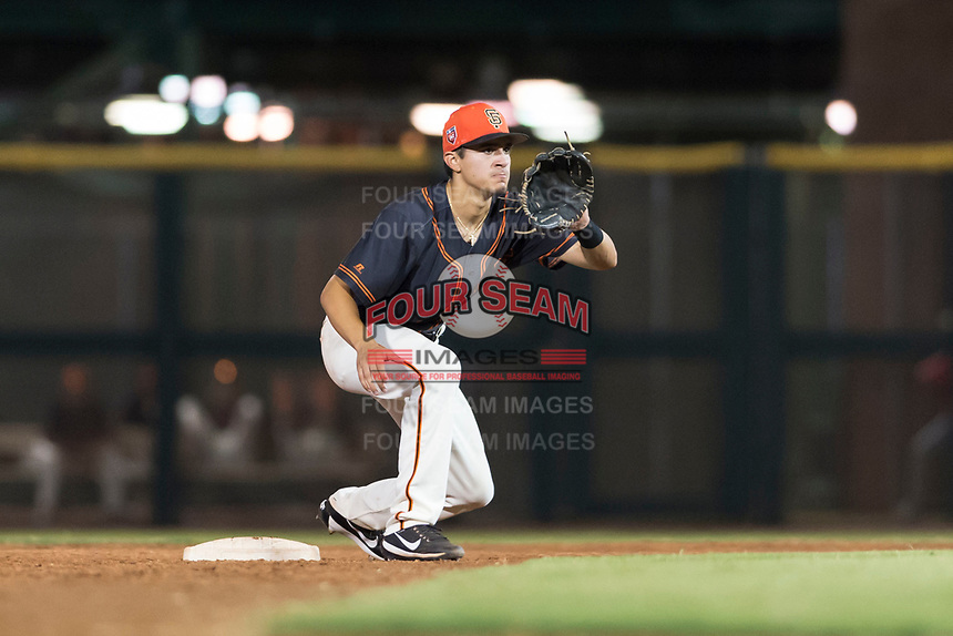 AZL Giants Black second baseman Marcos Campos (15) waits to receive a throw during an Arizona League game against the AZL Rangers at Scottsdale Stadium on August 4, 2018 in Scottsdale, Arizona. The AZL Giants Black defeated the AZL Rangers by a score of 6-3 in the second game of a doubleheader. (Zachary Lucy/Four Seam Images)