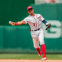 20 May 2018: Washington Nationals infielder Wilmer Difo gets the second out of the 5th inning against the Los Angeles Dodgers at Nationals Park in Washington, DC. The Dodgers defeated the Nationals 7-2, sweeping their 3-game series. Mandatory Credit: Ed Wolfstein Photo *** RAW (NEF) Image File Available ***