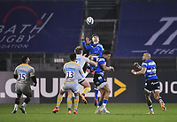8th January 2021; Recreation Ground, Bath, Somerset, England; English Premiership Rugby, Bath versus Wasps; Tom de Glanville of Bath catches a kick