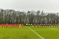 line up team Standard ( Aster Janssens (5) of Standard , Constance Brackman (20) of Standard , Elien Nelissen (15) of Standard , Sylke Calleeuw (9) of Standard , Charlotte Cranshoff (18) of Standard , Gwyneth Vanaenrode (3) of Standard , Davinia Vanmechelen (25) of Standard , Noemie Gelders (10) of Standard , Lola Wajnblum (11) of Standard , Goalkeeper Lisa Lichtfus (16) of Standard , Maurane Marinucci (7) of Standard ) , assistant referee Romain Delree , referee Sylvie Deckers , assistant referee Geoffrey Quaranta and team Eendracht Aalst ( Chloe Van Mingeroet (17) of Eendracht Aalst , Goalkeeper Silke Baccarne (1) of Eendracht Aalst , Anke Vanhooren (7) of Eendracht Aalst , Valentine Hannecart (8) of Eendracht Aalst , Annelies Van Loock (9) of Eendracht Aalst , Tiana Andries (11) of Eendracht Aalst , Justine Blave (22) of Eendracht Aalst , Stephanie Van Gils (27) of Eendracht Aalst , Loes Van Mullem (33) of Eendracht Aalst , Margaux Van Ackere (37) of Eendracht Aalst , Niekie Pellens (41) of Eendracht Aalst ) pictured before a female soccer game between Standard Femina de Liege and Eendracht Aalst on the 12 th matchday of the 2020 - 2021 season of Belgian Scooore Womens Super League , saturday 30 th of January 2021 in Angleur , Belgium . PHOTO SPORTPIX.BE   SPP   STIJN AUDOOREN