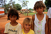 Juruena, Mato Grosso State, Amazon, Brazil; group of settlers' children of different racial mixes.
