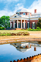 """Imagine Thomas Jefferson sitting and contemplating his  architectural gem Monticello, reflected in the fish pond he installed on his property.<br /> 20x30"""" on canvas over stretcher bars and set in a wooden floater type frame. $750.<br /> Artist/photographer signed."""