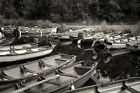 Fishing boats in channel of Lakes of Killarney. Ireland