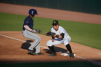 Bradenton Marauders first baseman Mason Martin (47) waits for a pickoff attempt throw as Wander Franco (6) gets back to the bag during a Florida State League game against the Charlotte Stone Crabs on July 30, 2019 at LECOM Park in Bradenton, Florida.  Bradenton defeated Charlotte 2-1.  (Mike Janes/Four Seam Images)