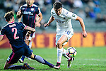 Auckland City Forward Emiliano Tade (r) fights for the ball with Fernando Recio of SC Kitchee (l) during the Nike Lunar New Year Cup 2017 match between SC Kitchee (HKG) and Auckland City FC (NZL) on January 31, 2017 in Hong Kong, Hong Kong. Photo by Marcio Rodrigo Machado / Power Sport Images