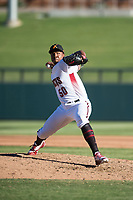 Salt River Rafters relief pitcher Tyler Mark (50), of the Arizona Diamondbacks organization, delivers a pitch during an Arizona Fall League game against the Glendale Desert Dogs at Salt River Fields at Talking Stick on October 31, 2018 in Scottsdale, Arizona. Glendale defeated Salt River 12-6 in extra innings. (Zachary Lucy/Four Seam Images)