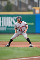 Altoona Curve Arden Pabst (53) leads off first base during an Eastern League game against the Erie SeaWolves on June 5, 2019 at UPMC Park in Erie, Pennsylvania.  Altoona defeated Erie 6-2.  (Mike Janes/Four Seam Images)