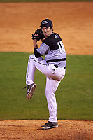 Wisconsin-Milwaukee Panthers relief pitcher George Swedie (18) delivers a pitch during a game against the Ball State Cardinals on February 26, 2016 at Chain of Lakes Stadium in Winter Haven, Florida.  Ball State defeated Wisconsin-Milwaukee 11-5.  (Mike Janes/Four Seam Images)