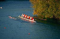 Rowing at the Head of the Charles Regatta. Cambridge, Massachusetts.