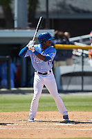 Montae Bradshaw (6) of the Burlington Royals at bat against the Greeneville Reds at Burlington Athletic Stadium on July 8, 2018 in Burlington, North Carolina. The Royals defeated the Reds 4-2.  (Brian Westerholt/Four Seam Images)