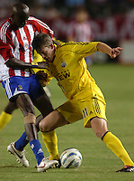 September 3, 2005 Photo by Matt A. Brown/ISI.Columbus Crew (11) John Wolyniec fights off Chivas USA's (5) Ezra Hendrickson for the ball  in the second half.
