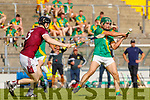 Philip Maunsell, Kilmoyley in action against Muiris Delaney, Causeway during the Kerry County Senior Hurling Championship Final match between Kilmoyley and Causeway at Austin Stack Park in Tralee