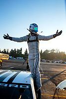 Nov 11, 2018; Pomona, CA, USA; NHRA pro stock driver Tanner Gray celebrates after winning the Auto Club Finals at Auto Club Raceway. Mandatory Credit: Mark J. Rebilas-USA TODAY Sports