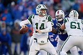 New York Jets quarterback Sam Darnold (14) passes during an NFL football game against the Buffalo Bills, Sunday, December 9, 2018, in Orchard Park, N.Y.  (Mike Janes Photography)