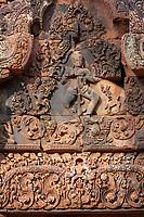 Cambodia, Banteay Srei Temple.  Shiva, performing dance of destruction.