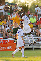Jeff Cosgriff (yellow) AC St Louis, Nelson Akwari...AC St Louis and Vancouver Whitecaps played to a 0-0 tie at Anheuser-Busch Soccer Park, Fenton, Missouri.