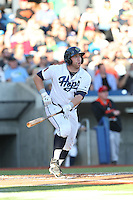 Nate Irving (18) of the Hillsboro Hops bats during a game against the Salem-Keizer Volcanoes at Ron Tonkin Field on July 27, 2015 in Hillsboro, Oregon. Hillsboro defeated Salem-Keizer, 9-2. (Larry Goren/Four Seam Images)