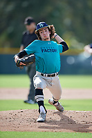 Keegan McCarty (57) of Saint Joseph, Illinois during the Baseball Factory Pirate City Christmas Camp & Tournament on December 28, 2018 at Pirate City in Bradenton, Florida. (Mike Janes/Four Seam Images)
