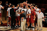 18 January 2008: Ken Shibuya, Al Roderigues, Evan Romero, Jarod Keller and the team huddle during Stanford's 3-1 win over USC at Maples Pavilion in Stanford, CA.
