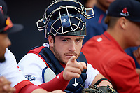 Salem Red Sox catcher Jordan Procyshen (44) in the dugout before the first game of a doubleheader against the Potomac Nationals on June 11, 2018 at Haley Toyota Field in Salem, Virginia.  Potomac defeated Salem 9-4.  (Mike Janes/Four Seam Images)