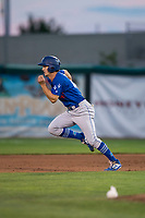 Ogden Raptors center fielder James Outman (47) hustles towards second base during a Pioneer League game against the Orem Owlz at Home of the OWLZ on August 24, 2018 in Orem, Utah. The Ogden Raptors defeated the Orem Owlz by a score of 13-5. (Zachary Lucy/Four Seam Images)