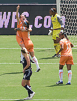 Sky Blue FC midfielder Heather O'Reilly is hoisted high while being congratulated by teammate Natasha Kai after scoring the the lone and winning goal of the Championship. The Sky Blue FC defeated the LA Sol 1-0 to win the WPS Final Championship match at Home Depot Center stadium in Carson, California on Saturday, August 22, 2009...