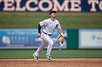 Detroit Tigers third baseman Spencer Torkelson (19) tracks a popup during a Florida Instructional League game against the Pittsburgh Pirates on October 16, 2020 at Joker Marchant Stadium in Lakeland, Florida.  (Mike Janes/Four Seam Images)
