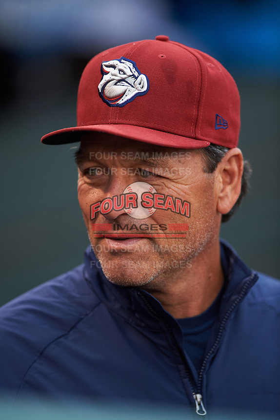 Lehigh Valley IronPigs hitting coach Sal Rende (25) in the dugout before a game against the Rochester Red Wings on May 15, 2015 at Frontier Field in Rochester, New York.  Rochester defeated Lehigh Valley 5-4.  (Mike Janes/Four Seam Images)