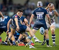 28th May 2021; AJ Bell Stadium, Salford, Lancashire, England; English Premiership Rugby, Sale Sharks versus Bristol Bears;   Raffi Quirke of Sale Sharks kicks high to clear