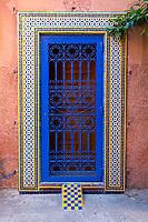 Marrakesh, Morocco.  Tiles around Entrance to House in the Medina.