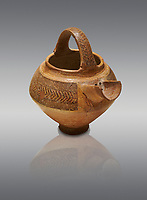 Bronze Age Anatolian decorated terra cotta tea pot with strainer - 19th to 17th century BC - Kültepe Kanesh - Museum of Anatolian Civilisations, Ankara, Turkey. Against a grey background.